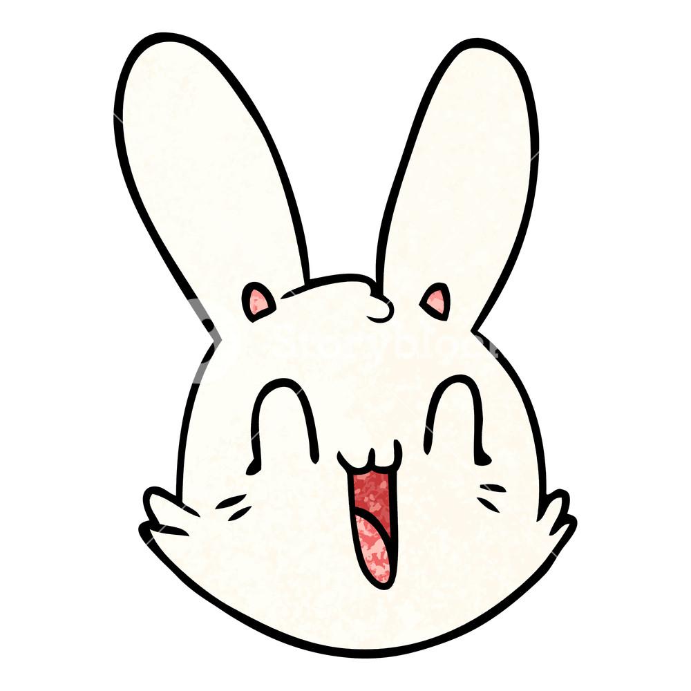 1000x1000 Cartoon Crazy Happy Bunny Face Royalty Free Stock Image