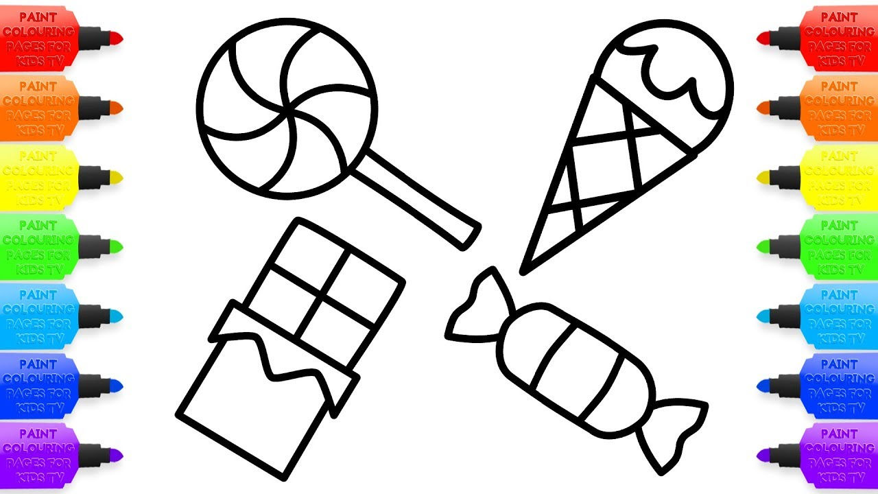 1280x720 Drawings For Kids To Paint How Draw Candies Lollipops Ice Cream