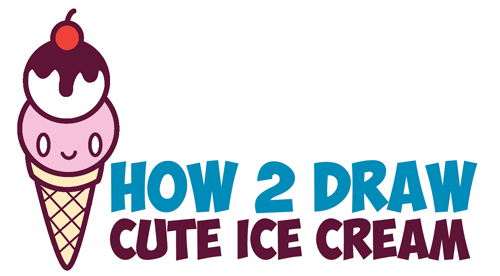 500x276 How To Draw Cute Kawaii Ice Cream Cone With Face On It