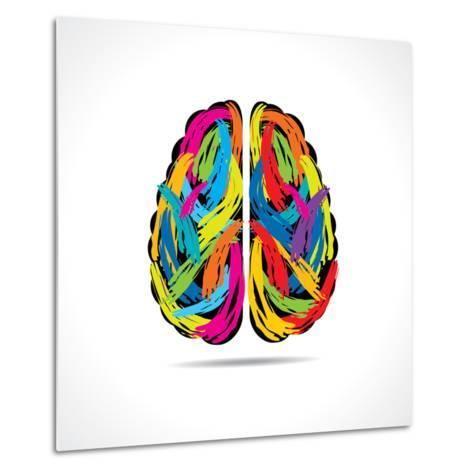 473x473 Creative Brain With Paint Strokes Print