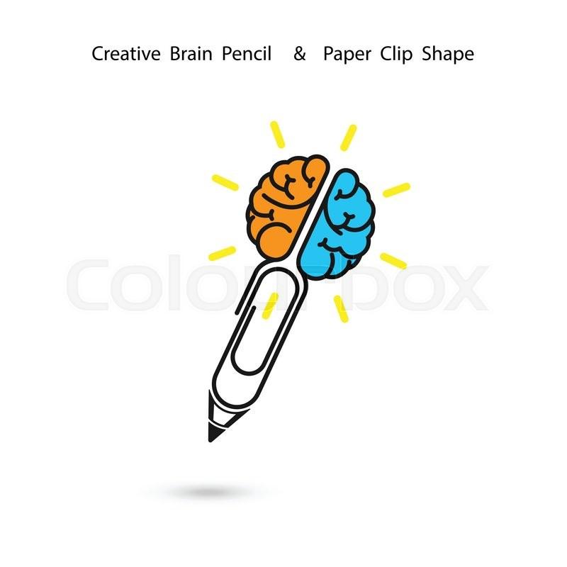 800x800 Creative Brain Pencil Logo Stock Vector Colourbox