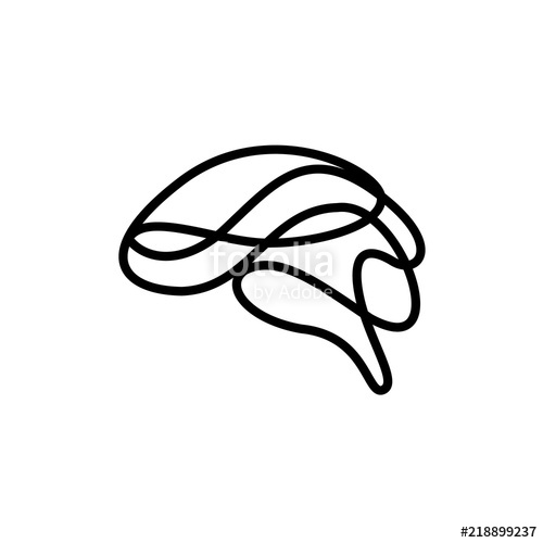 500x500 Abstract Brain Made Of Line Art As Creative Idea Symbol Icon