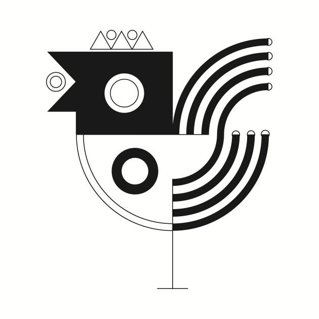 630x630 Bird Beautiful Geometric Art On Black