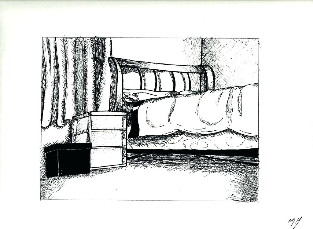 1024x750 Bed Drawing Creative For Free Download