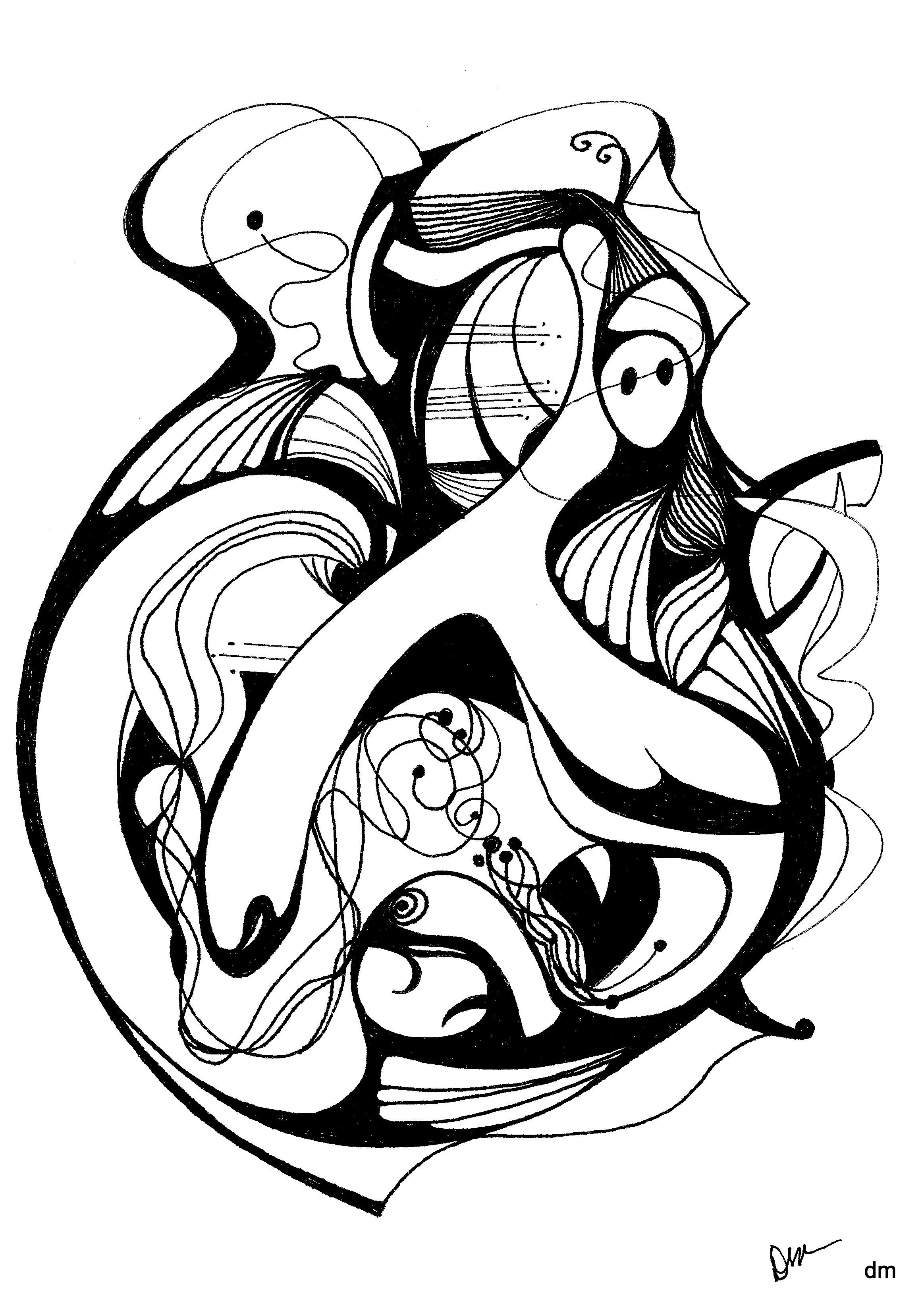 2327x3296 black and white abstract pen drawing and pen ink abstract