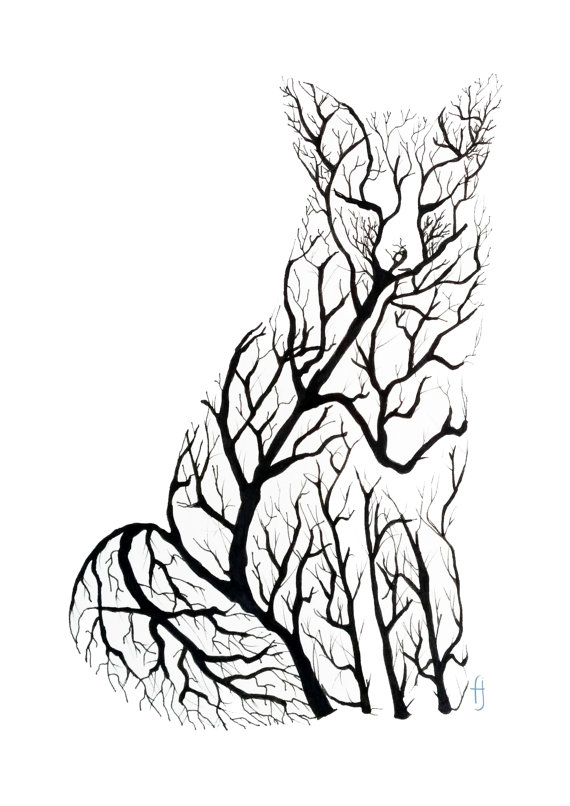570x806 Fox Drawing Tree For Free Download