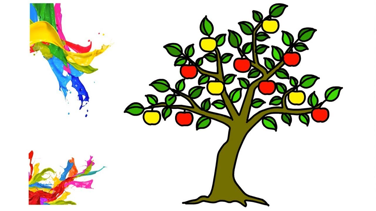 1280x720 Excellent Apple Tree How To Drawing Easy For Kids With Coloring