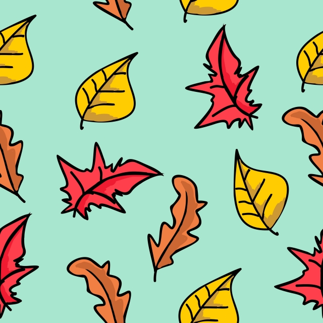 640x640 Trendy Creative Drawing Of Autumn Cartoon Leaves Pattern