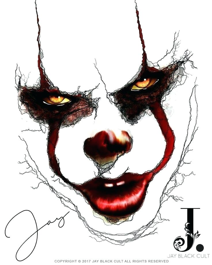 736x920 evil clown sketches the clown from it creepy clown sketches