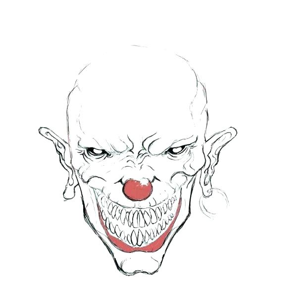 600x600 scary clown coloring pages evil clown drawings scary clown