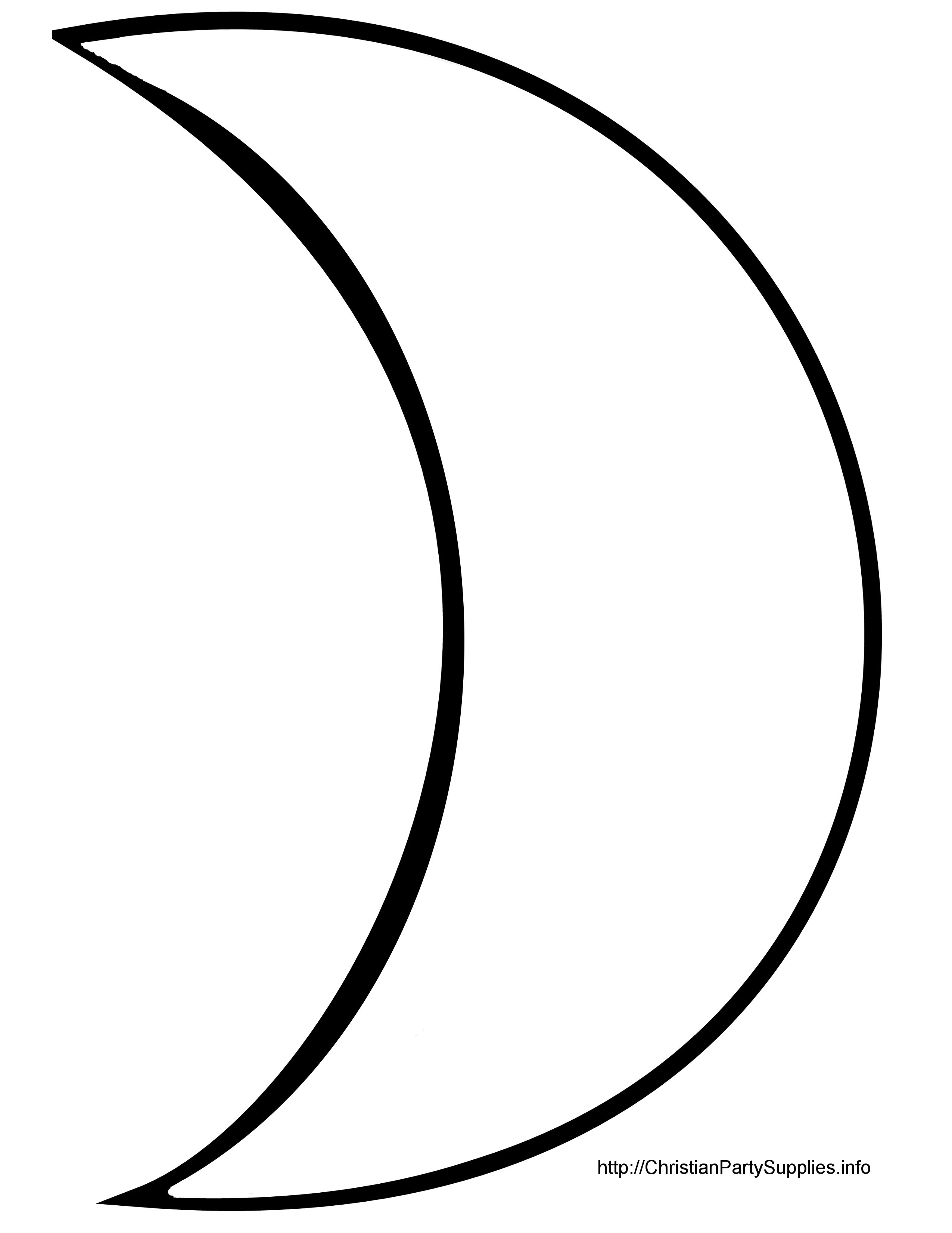 2550x3300 template crescent moon scanncut moon silhouette, moon coloring