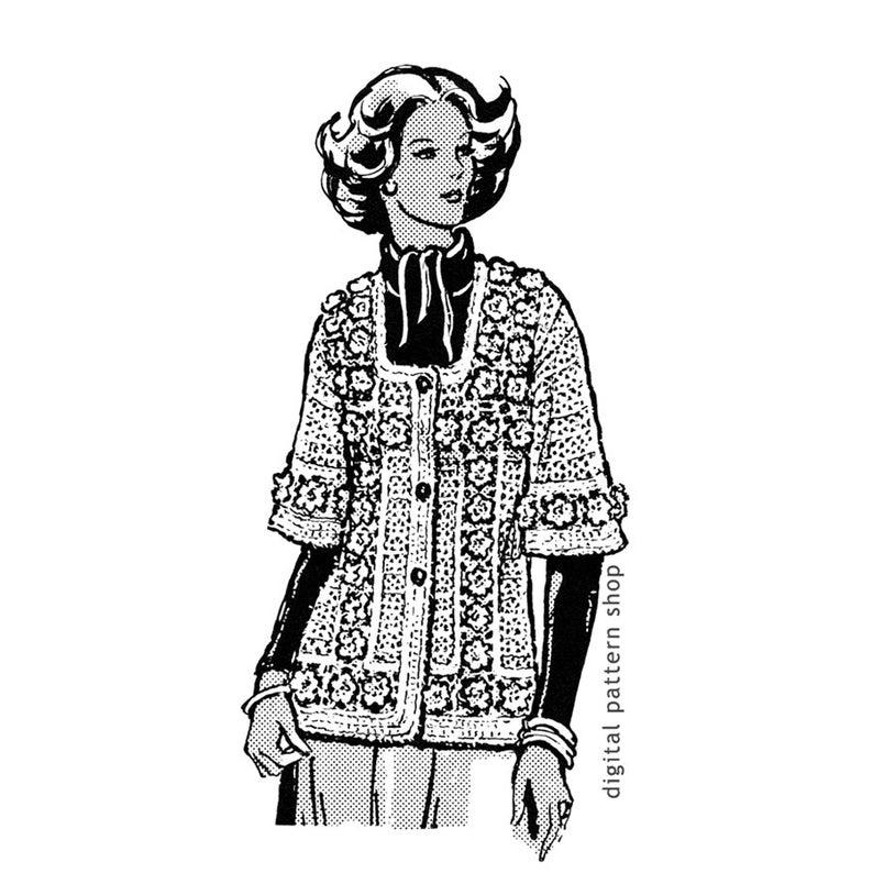 794x794 crochet jacket pattern rose motif sweater crochet pattern etsy