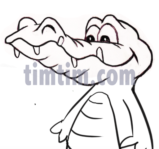 513x480 free drawing of a crocodile bw from the category reptiles