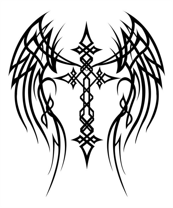 600x720 Cross With Wings Tattoo