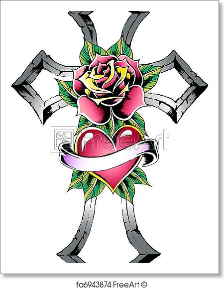 450x580 Free Art Print Of Gothic Cross Tattoo Freeart