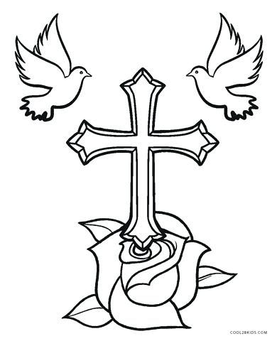 390x480 Cross Coloring Pictures Drawn Cross Coloring