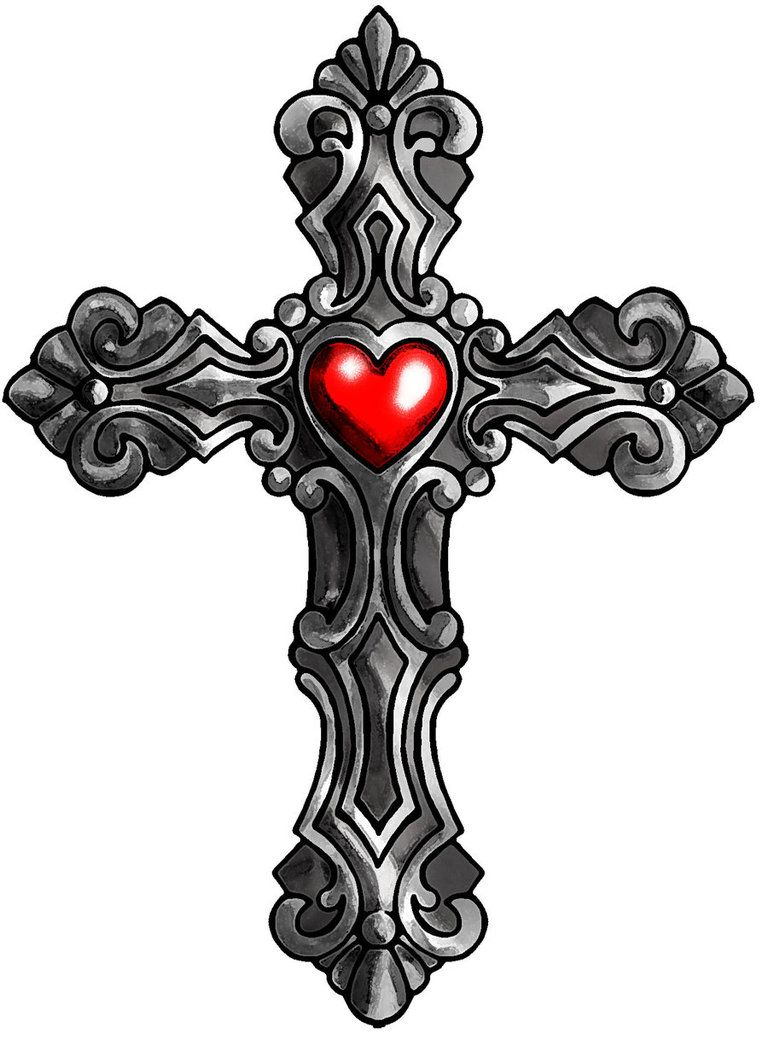 768x1039 Cross With Heart Tattoo Cross Heart Tattoos, Cross Designs