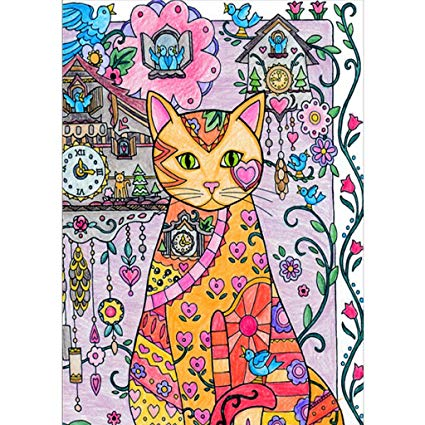 425x425 Haayward Pencil Drawing Cuckoo Clock And Cat Diy