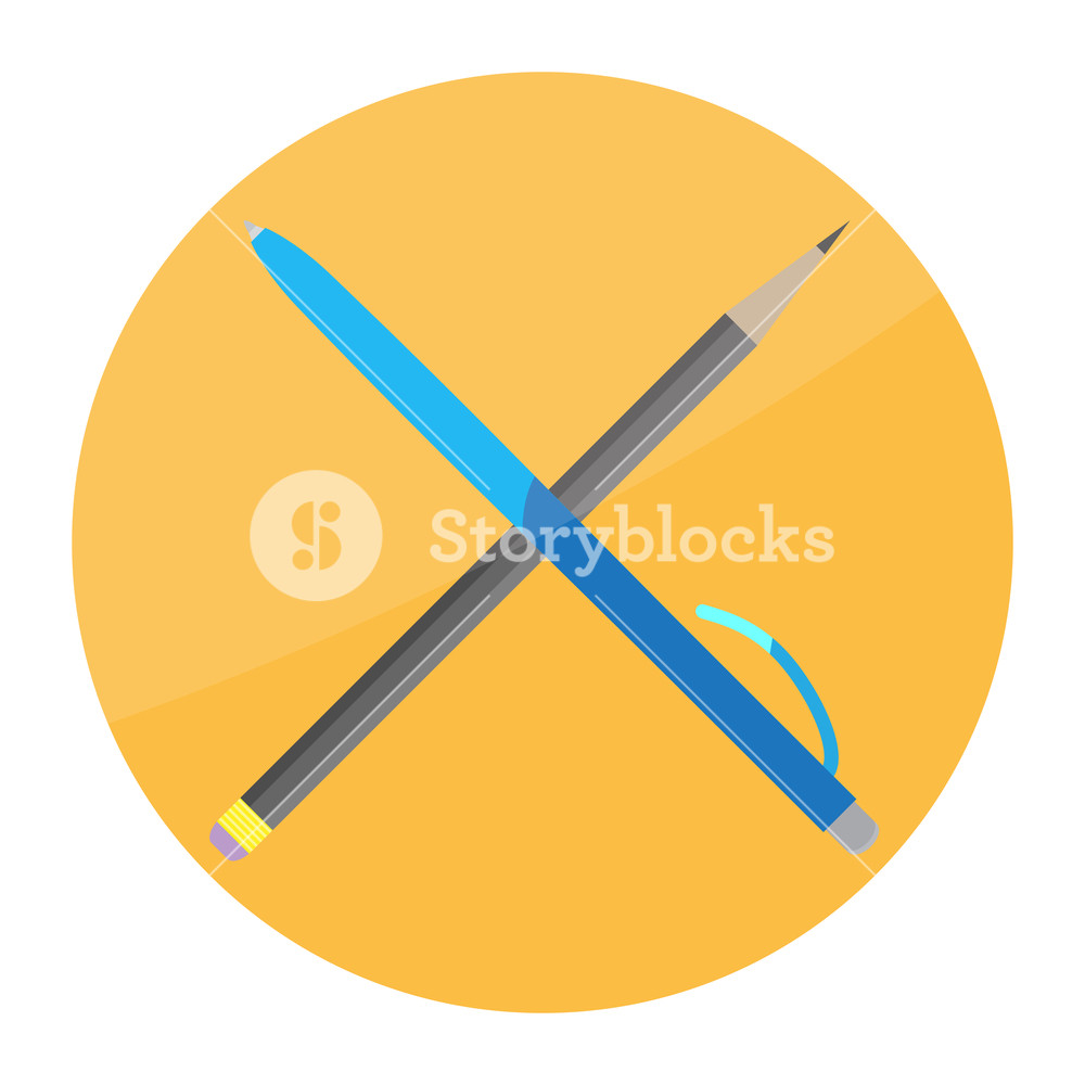 1000x1000 Pen And Pencil Cross Icon Flat Object Office, Education School