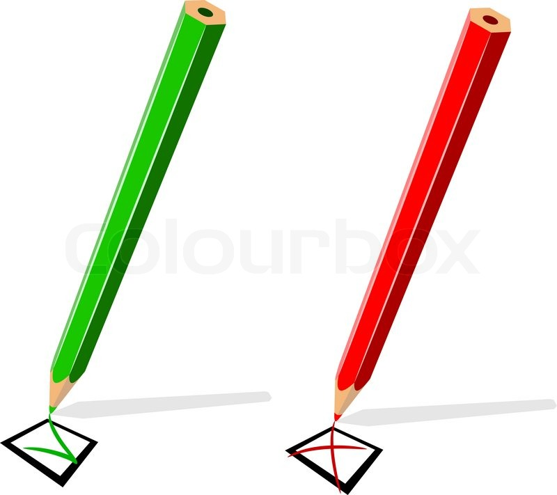800x711 Pencil Drawing Green Tick And Red Stock Vector Colourbox