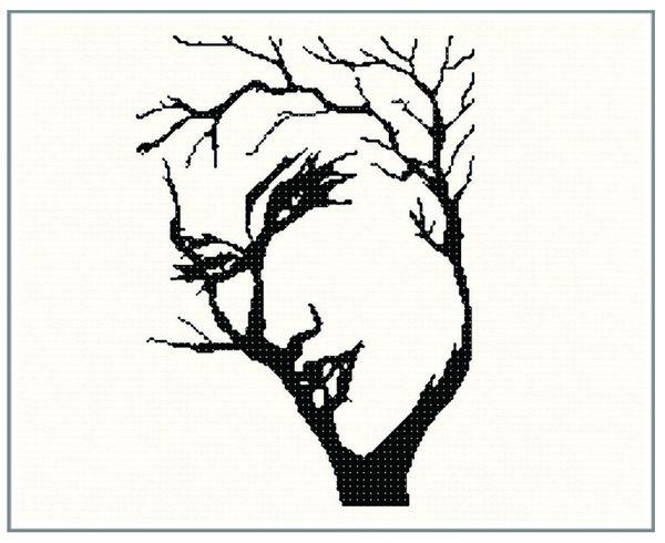 600x490 Face In Tree Illusion Cross Stitch Chart