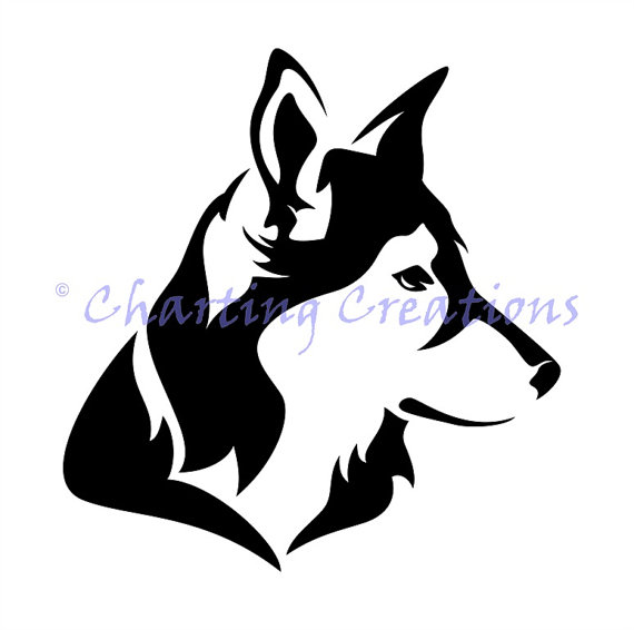 570x566 Husky Silhouette Counted Cross Stitch Pattern Products Counted