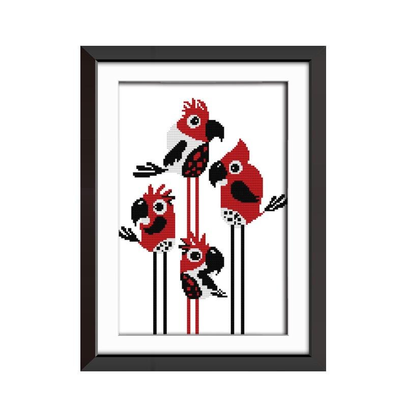 800x800 Red Parrot Abstract Drawing Dmc Embroidery Cross Stitch