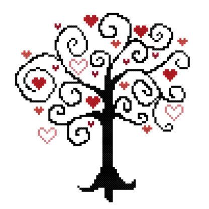 416x416 Whimsical Heart Tree Cross Stitch Pattern