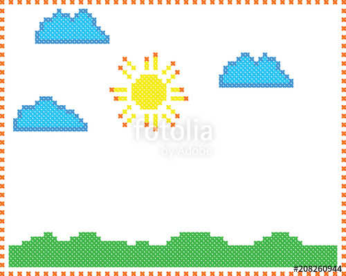 500x399 Sun In Clouds Over Green Grass Children's Drawing Style Like