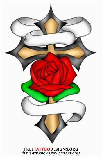 351x540 Rose With Cross Tattoo Designs