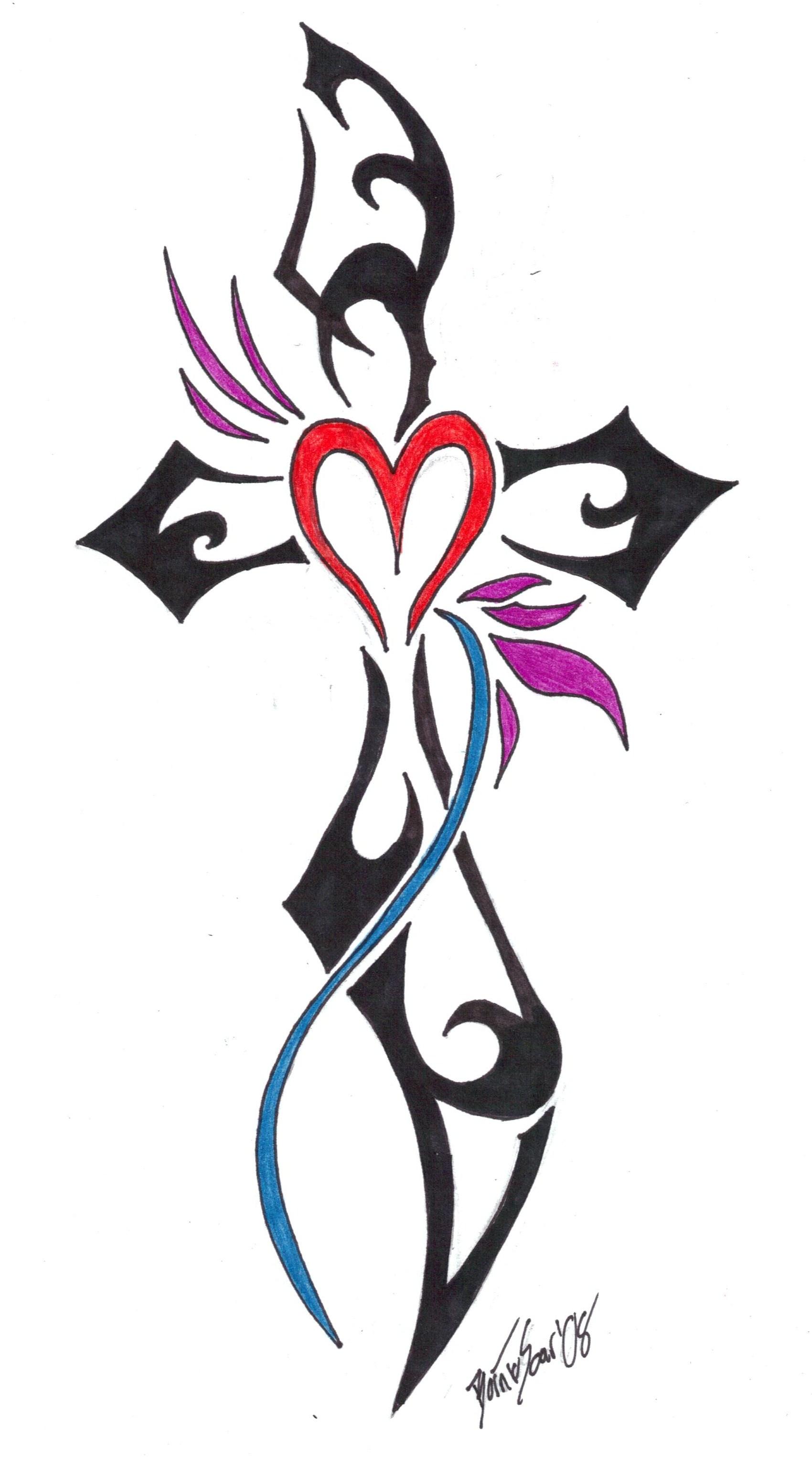 1700x3053 Tiny Heart And Cross Tattoo Design