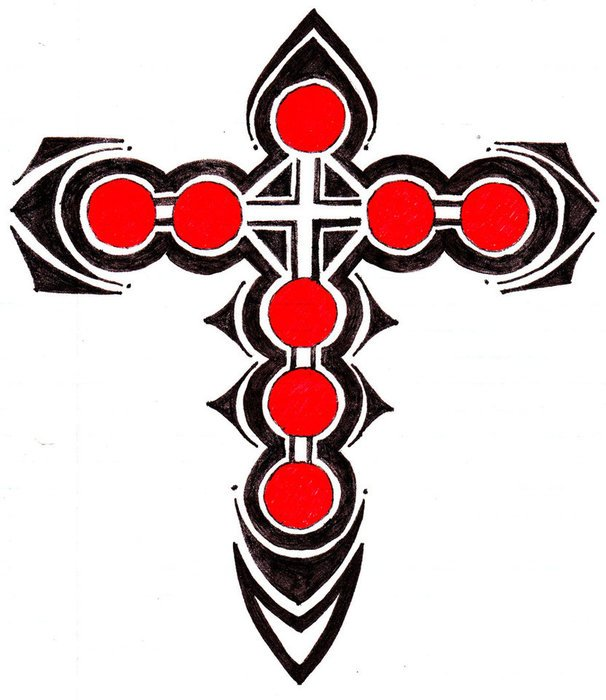 606x700 Tribal Cross Tattoo Drawings Free Image