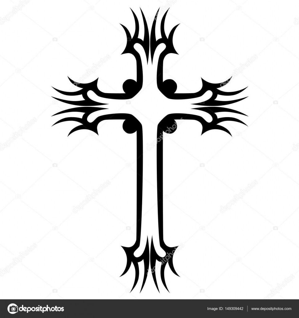 963x1024 Tribal Cross Tattoo