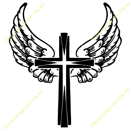 Cross With Wings Drawing