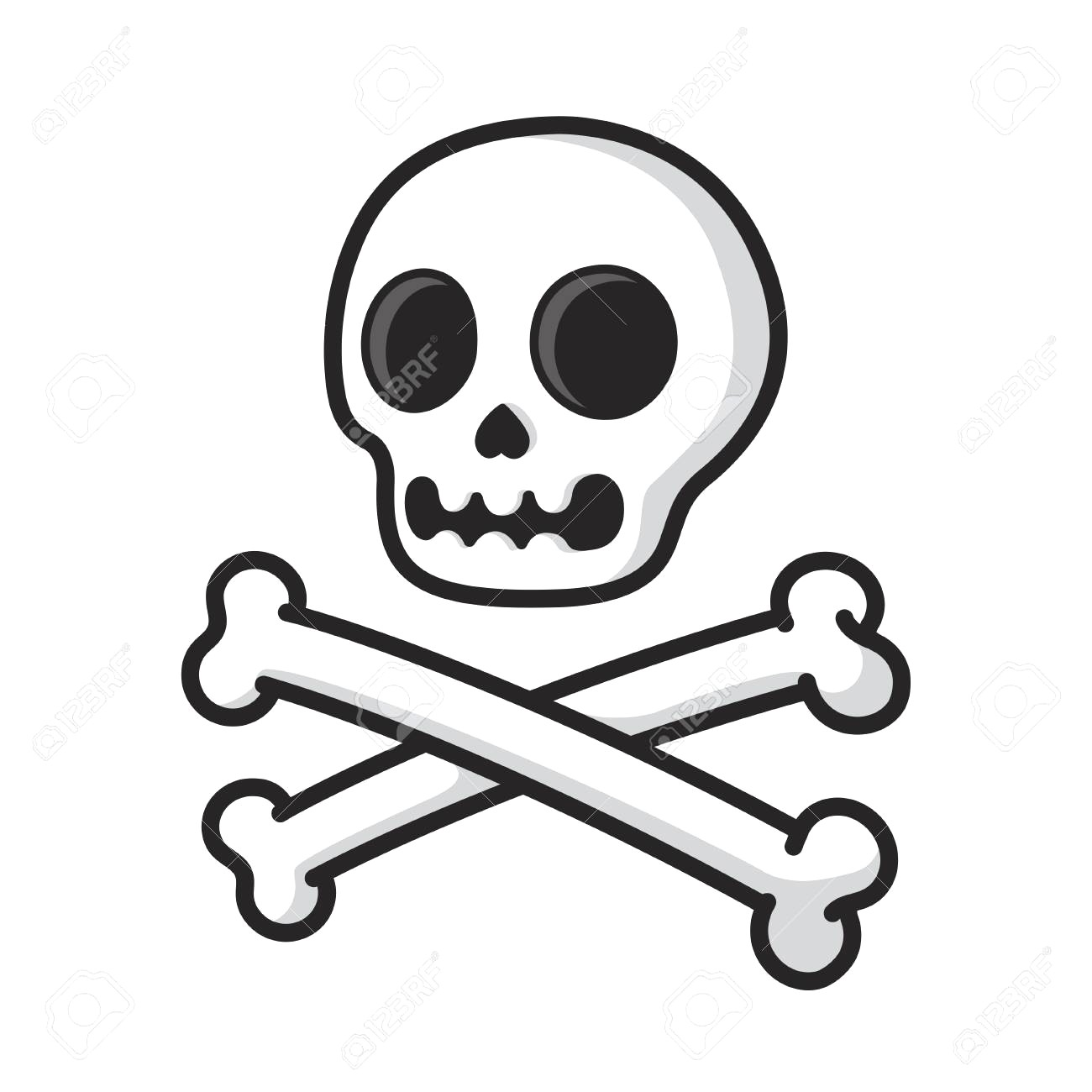 1300x1300 Simple Cartoon Skull And Crossbones Isolated On White