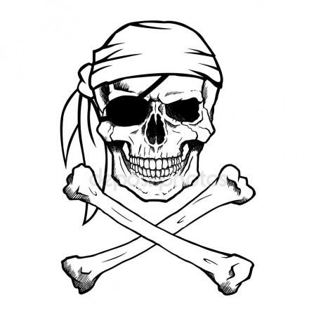 450x450 Black And White Pirate Skull And Crossbones, Also Known As Jolly