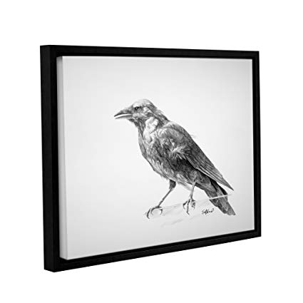 425x425 artwall crow drawing' gallery wrapped floater framed