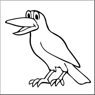 304x304 Clip Art Cartoon Crow Bampw I Abcteach