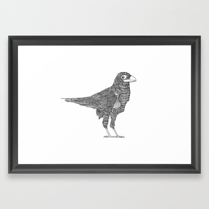 700x700 Crow, One Line Drawing Framed Art Print