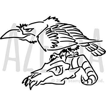 355x355 'crow On Skull' Wall Stencil Template