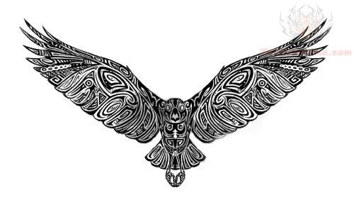 500x296 Crow Tribal Tattoo Sketch Tattoo Ideas