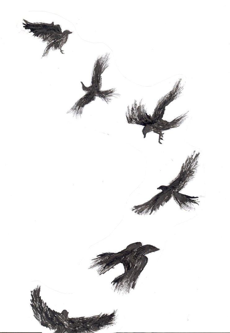 742x1077 Flying Crows Tattoos Designs