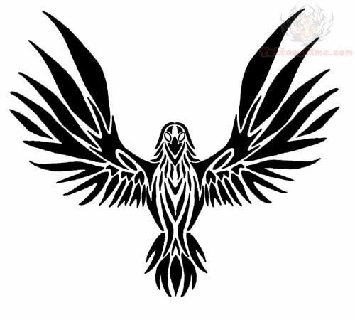500x450 flying raven tribal tattoo design tattoos raven tattoo, tribal