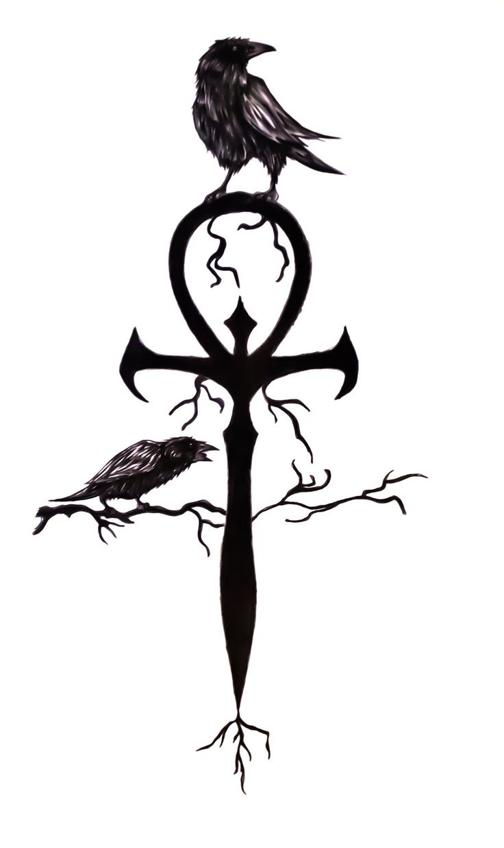 736x1236 Latest Black Ink Ankh With Two Crow Tattoo Design For You Aspen