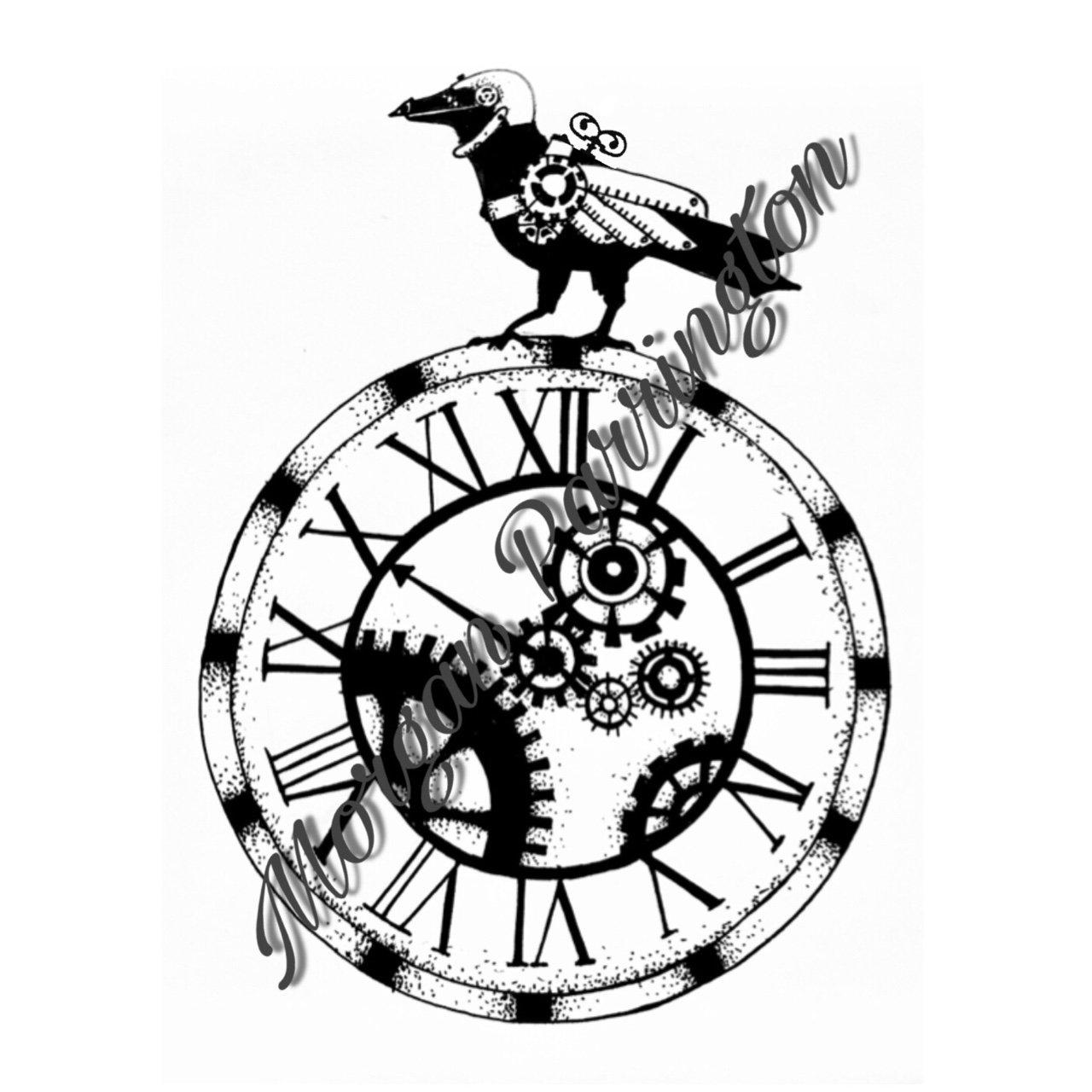 1280x1280 Original Steampunk Clock Face And Crow