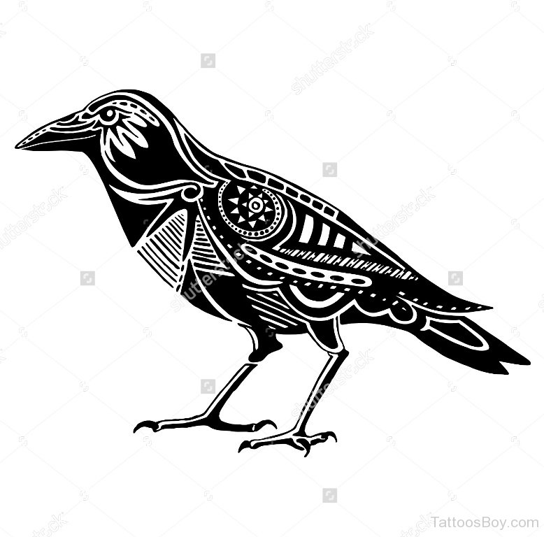 778x768 White And Black Crow Tattoo Designs