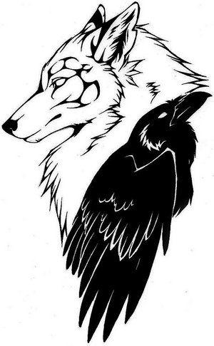 300x486 Wolf And Crow Tattoo