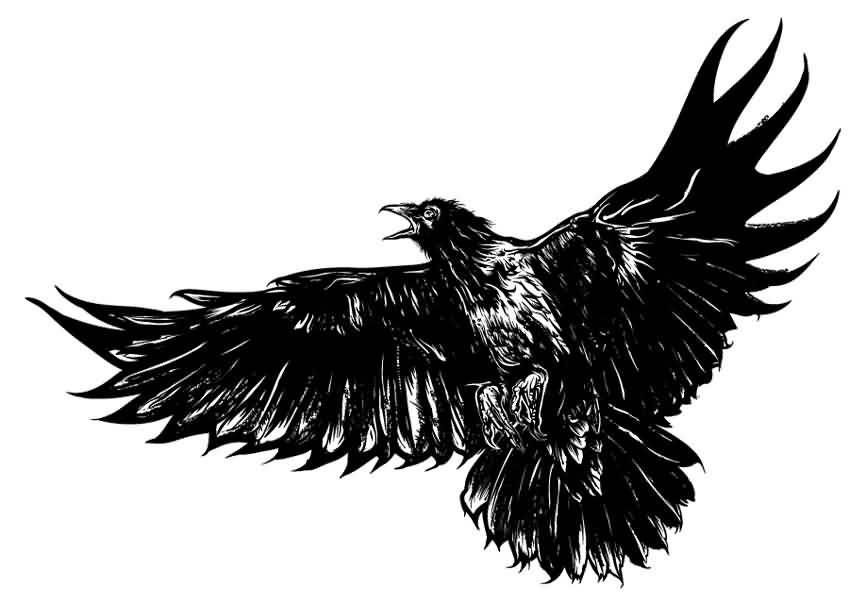 865x606 Black Flying Crow Tattoo Design Sample Flu In Crow Tattoo