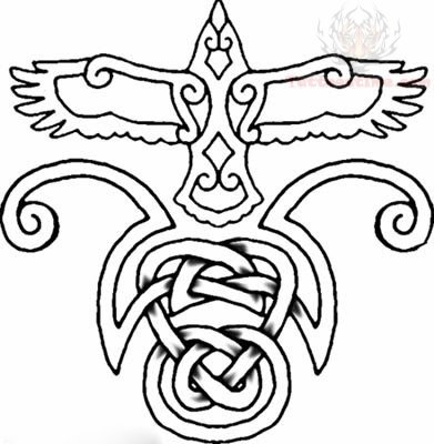 391x400 Celtic Crow Tattoo Designs