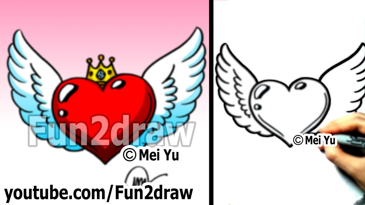 1280x720 How To Draw A Heart With Wings And Crown
